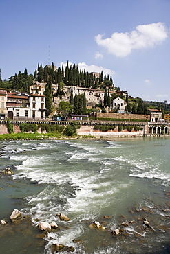 View of Teatro Romano and Museo Archeologico over the river Adige, Verona, Italy