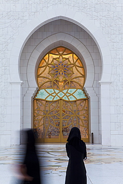 Ornate entrance to the main prayer hall of Sheikh Zayed Bin Sultan Al Nahyan Mosque, Abu Dhabi, United Arab Emirates, Middle East
