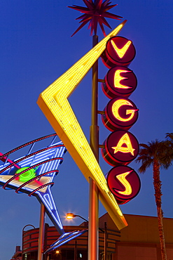 Neon Vegas sign at dusk, Downtown, Freemont East Area, Las Vegas, Nevada, United States of America, North America