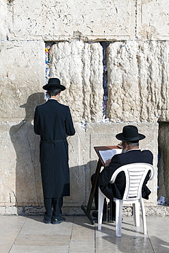 Jewish Quarter of the Western Wall Plaza, with people praying at the Wailing Wall, Old City, Jerusalem, Israel, Middle East