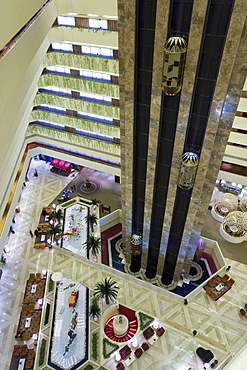 Wide angle view of the interior of a hotel, Doha, Qatar, Middle East