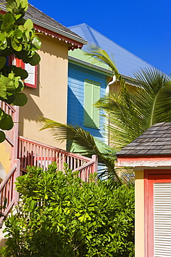 Colourfully painted buildings at Orient Beach, St. Martin (St. Maarten), Leeward Islands, West Indies, Caribbean, Central America