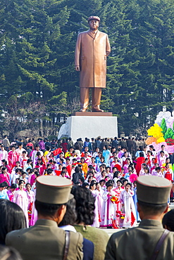 Celebrations on the 100th anniversary of the birth of President Kim Il Sung on April 15th 2012, in Pyongshong, a satellite city outside Pyongyang, Democratic People's Republic of Korea (DPRK), North Korea, Asia