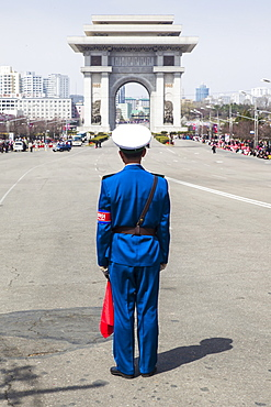 Street celebrations on the 100th anniversary of the birth of President Kim Il Sung, April 15th 2012, Pyongyang, Democratic People's Republic of Korea (DPRK), North Korea, Asia