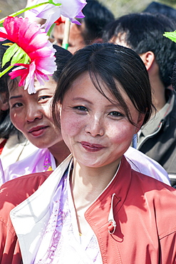 Woman in traditional dress during the celebrations on the 100th anniversary of the birth of President Kim Il Sung, April 15th 2012, Pyongyang, Democratic People's Republic of Korea (DPRK), North Korea, Asia