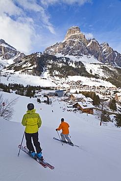 Corvara village in the Sella Ronda ski area, Val Gardena, Dolomites, South Tirol, Trentino-Alto Adige, Italy, Europe