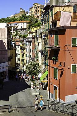 Narrow streets in the clifftop village of Riomaggiore, Cinque Terre, UNESCO World Heritage Site, Liguria, Italy, Europe