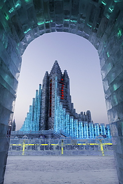 Spectacular illuminated ice sculptures at the Harbin Ice and Snow Festival in Harbin, Heilongjiang Province, China, Asia