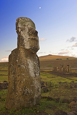 Lone monolithic giant stone Moai statue at Tongariki, Rapa Nui (Easter Island), UNESCO World Heritage Site, Chile, South America