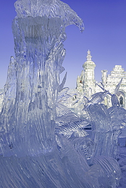 Spectacular ice sculptures at the Harbin Ice and Snow Festival in Harbin, Heilongjiang Province, China, Asia