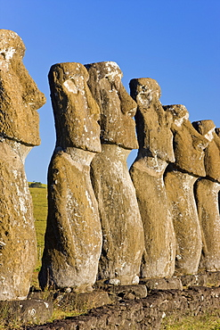Row of monolithic stone Moai statues known as Ahu Akivi, Rapa Nui (Easter Island), UNESCO World Heritage Site, Chile, South America