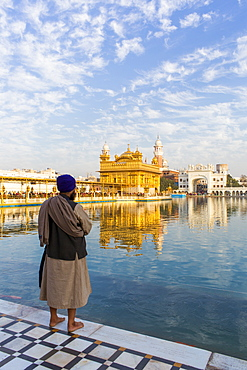 Sikh at The Golden Temple (Harmandir Sahib) and Amrit Sarovar (Pool of Nectar) (Lake of Nectar), Amritsar, Punjab, India, Asia