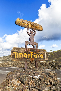 Timanfaya National Park, National Park entrance sign, Lanzarote, Canary Islands, Spain, Atlantic, Europe