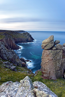 Towering cliffs of Lands End, Cornwall, England, United Kingdom, Europe