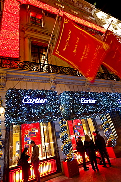 Christmas lights and decorations outside the Cartier Store, Fifth Avenue, Manhattan, New York City, New York, United States of America, North America