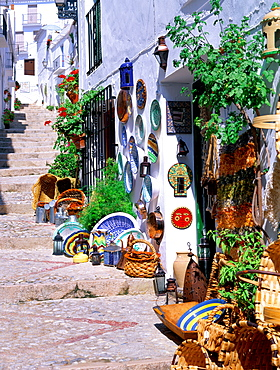 Pathway in village, Frigiliana, Andalusia, Costa del Sol, Spain, Mediterranean, Europe