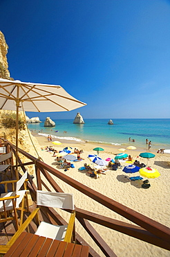 People on beach, view from terrace, Algarve, Portugal, Europe
