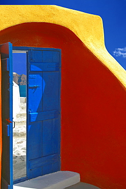 Colorful door in Oia, Santorini island, Cyclades, Greek Islands, Greece, Europe