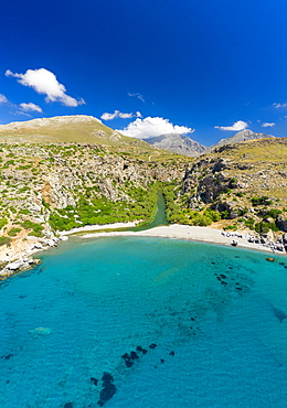 Aerial photo by drone of Preveli beach, Retymno, Crete Island, Greek Islands, Greece, Europe