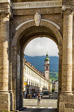 The Servite Church seen through the Triumphal Arch, Old Town, Innsbruck,Tryol, Austria, Europe