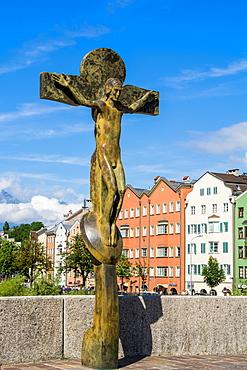 Jesus on the Cross (Christian Cross) sculpture, Old Town, Innsbruck, Tyrol, Austria, Europe