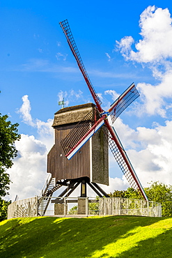 Saint Janshuis Mill windmill on the Kruisvest, Bruges, UNESCO World Heritage Site, West Flanders, Belgium, Europe