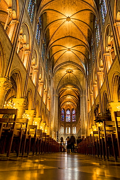 Pre fire interior of Notre Dame Cathedral, Paris, France, Europe