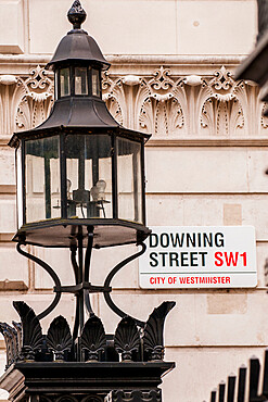 Downing Street sign, London, England, United Kingdom, Europe