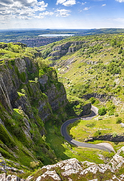 Aerial view by drone of Cheddar Gorge on a sunny day, Somerset, England, United Kingdom, Europe