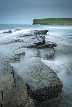 Dramatic rock ledges on the wild west coast of Orkney, Scotland, United Kingdom, Europe