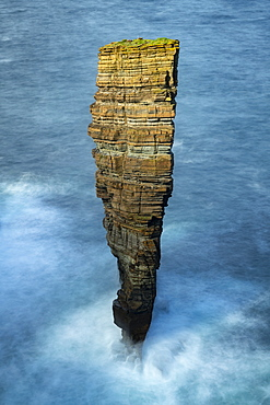 North Gaulton Castle sea stack off the wild west coast of the Orkney Islands, Scotland, United Kingdom, Europe