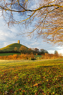 St. Michael's Tower on Glastonbury Tor, Glastonbury, Somerset, England, United Kingdom, Europe