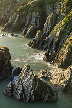 Rugged cliffs on the south coast of Devon, England, United Kingdom, Europe
