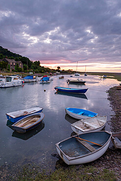 Boats in Porlock Weir harbour, Exmoor National Park, Somerset, England, United Kingdom, Europe