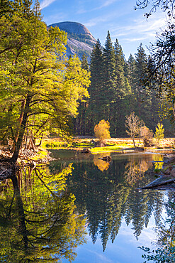 Autumn reflections on the River Merced in Yosemite Valley, Yosemite National Park, UNESCO World Heritage Site, California, United States of America, North America