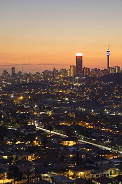 View of skyline at sunset, Johannesburg, Gauteng, South Africa, africa