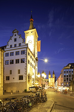 Rathaus (Town Hall) at dusk, Wurzburg, Bavaria, Germany, Europe