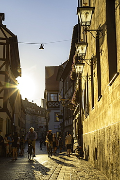 People walking along Dominikanerstrasse, Bamberg, UNESCO World Heritage Site, Bavaria, Germany, Europe