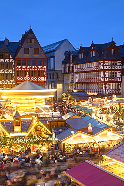 Frankfurt Christmas Market at dusk, Frankfurt am Main, Hesse, Germany, Europe