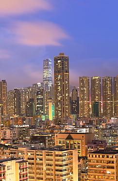 Skyline of Kowloon at dusk, Shek Kip Mei, Hong Kong, China, Asia