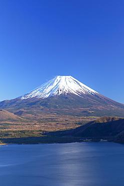 Mount Fuji, UNESCO World Heritage Site, and Lake Motosu, Yamanashi Prefecture, Honshu, Japan, Asia