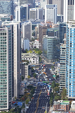Aerial view of skyscrapers and traffic, Seoul, South Korea, Asia