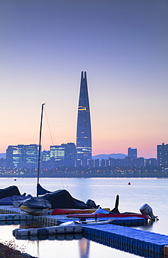 Lotte World Tower and Nam River at dawn, Seoul, South Korea, Asia