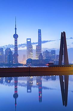 Skyline of Pudong at dawn, Shanghai, China, Asia
