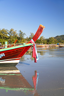 Long tail boats on Kata Beach, Phuket, Thailand, Southeast Asia, Asia