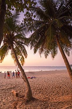 Surin Beach at sunset, Phuket, Thailand, Southeast Asia, Asia