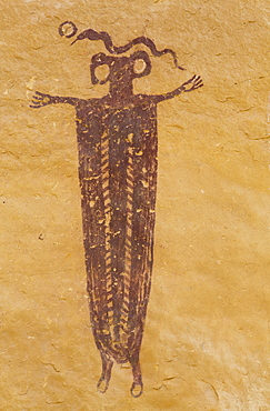Skeleton Shaman, Head of Sinbad Pictograph Panel, San Rafael Swell, Utah, United States of America, North America