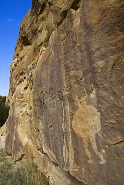 Warrior Panel, Petroglyph, up to 1500 years old, Crow Canyon, New Mexico, United States of America, North America