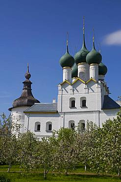 Church of Gregory the Theologian, with fruit trees in foreground, Kremlin, Rostov Veliky, Golden Ring, Yaroslavl Oblast, Russia, Europe
