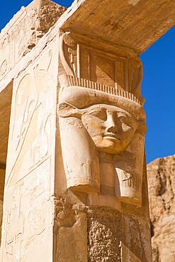 Hathor Column, Temple of Hathor, Hatshepsut Mortuary Temple (Deir el-Bahri), UNESCO World Heritage Site, Luxor, Thebes, Egypt, North Africa, Africa